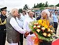 The Vice President, Shri M. Hamid Ansari being bid farewell by the Governor of Karnataka, Shri Vajubhai Rudabhai Vala, in Bengaluru, Karnataka on June 12, 2017.jpg