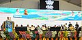 The Vice President, Shri M. Venkaiah Naidu addressing the gathering at an event to lay foundation stone for the improvement of National Highways and National Water Ways, in Vijayawada, Andhra Pradesh.jpg