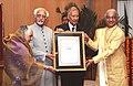 The Vice President of India Shri M. Hamid Ansari presented G.D. Birla International Award – 2008 to Shri V.P. Dhananjayan & Smt. Shanta Dhananjayan for outstanding contribution in the field of India's Cultural Heritage.jpg