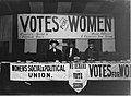 The Women's Social and Political union stand, probably at Caxton Hall, London, during the women's parliament, February 1908.jpg