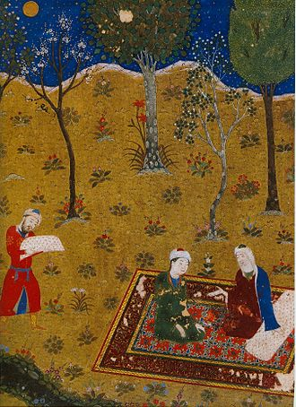 Gulistan (book) - The poet Sa'di converses by night with a young friend in a garden. Miniature from Gulistan. Herat, 1427. Chester Beatty Library, Dublin; workshops of Baysonqor.