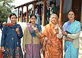 The women voters showing mark of indelible ink after casting their votes, at a polling booth, during the 8th Phase of General Elections-2014, in Nainital, Uttarakhand on May 07, 2014.jpg