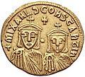 Theophilos, Michael II and Constantine solidus (reverse).jpg