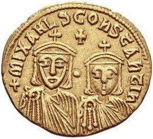 Constantine, son of Theophilos - Constantine (right) and his grandfather Michael II on the reverse of a solidus minted by Constantine's father Theophilos.