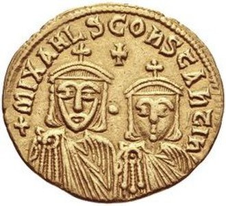 Constantine (son of Theophilos) - Constantine (right) and his grandfather Michael II on the reverse of a solidus minted by Constantine's father Theophilos.