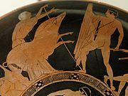 Theseus and the Crommyonian Sow, with Phaea, on an Attic red-figured kylix, ca. 440-430 BCE