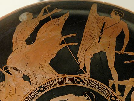 Theseus and the Crommyonian Sow, with Phaea (detail of a kylix) Theseus Minotaur BM Vase E84 n4.jpg