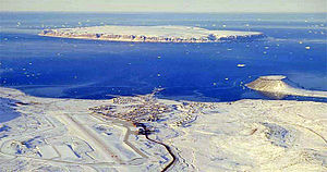 Saunders Island, Greenland - View of North Star Bay with Thule Air Base in the foreground, Saunders Island in the background and the Uummannaq tombolo on the right.