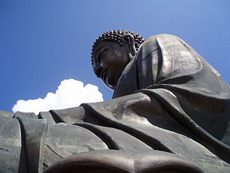Tian Tan Buddha - View from the upper platform, with the detail of the Buddha's robes clearly visible.