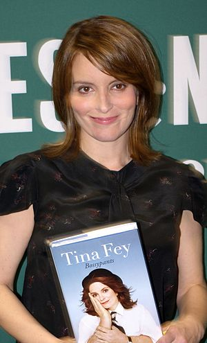 Tina Fey - Fey holding a copy of Bossypants, published in April 2011