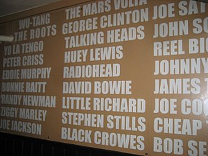 Toad's Place - A long wall inside the venue the names of the many famous artists to have played there