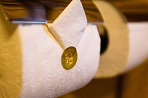 Toilet paper orientation - Folded and sealed toilet paper with cover, Hotel Monasterio 2009