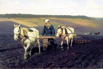 Tolstoj achter de ploeg, door Ilja Repin
