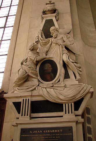 Jean Girardet - Tomb of Jean Girardet by Johann Joseph Söntgen (tomb rebuilt in 1801 after the destruction of the original), San Sebastian Church in Nancy, France