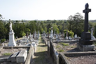 Toowong Cemetery, opened in 1875, Queensland's largest cemetery Toowong Cemetery 1a.jpg