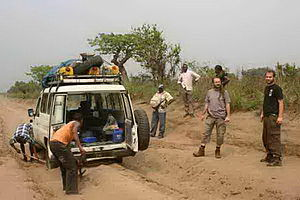 Transport in the Democratic Republic of the Congo - The road between Kikwit and Idiofa.