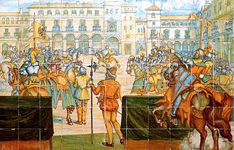 Valladolid - 'A jousting tournament in the main square of Valladolid', ceiling preserved in Madrid's Museo del Prado.