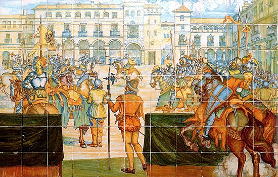 'A jousting tournament in the main square of Valladolid', ceiling preserved in Madrid's Museo del Prado. Torneo en la Plaza Mayor grande.jpg