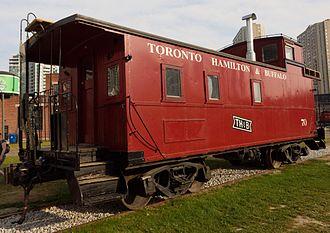 Toronto, Hamilton and Buffalo Railway - Caboose on display at Roundhouse Park in Toronto