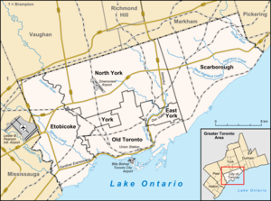 Amalgamation of Toronto - Map of Toronto with the borders of the former boroughs indicated