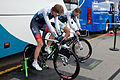 Tour de Romandie 2013 - Stage 5 - IAM Cycling riders, Gustav Larsson and Matthias Brändle, warming up.jpg