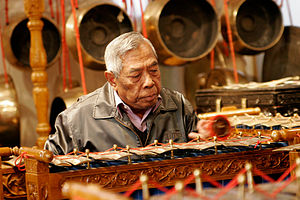 A gamelan, a traditional Indonesian instrument.