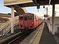 Train for Shimonoseki Station at Kajikuri-Godaichi Station.jpg