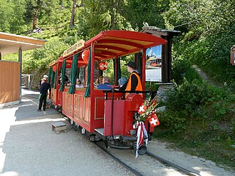Riffelalp railway station - Image: Trams du Riffelalp (Suisse)(1)