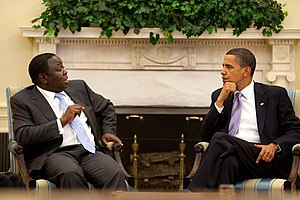 Morgan Tsvangirai - Tsvangirai meets Barack Obama in the White House in June 2009