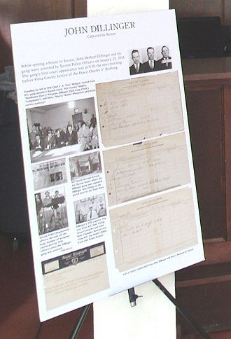 Hotel Congress - Display of newspaper clippings of the capture of John Dillinger and his gang in the old lobby of the Congress Hotel.