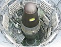 An ICBM loaded into the silo of the Titan Missile Museum