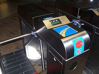 Société de transport de Montréal - An OPUS card reader located at the Bonaventure Metro Station