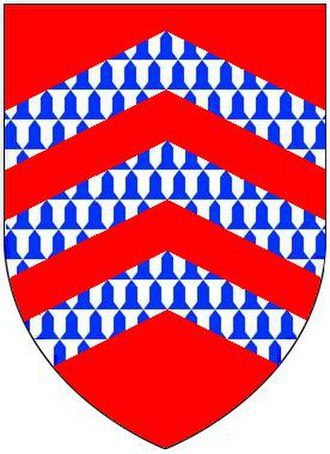 Berrynarbor - Armorial of Turville of Aston Flamville, Leicestershire: Gules, three chevronels vair. As depicted on the mural monument of Richard Berrie Esq. (1582-1645), lord of manor of Berrynarbor, in Berrynarbor Church. His second wife was Dorothy Turville, daughter of George Turville of Aston Flamville