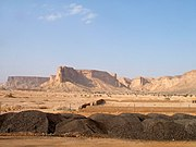 A view of the Tweig (Tuwaiq) Escarpment from the west.  The Saudi capital Riyadh lies just beyond the horizon.