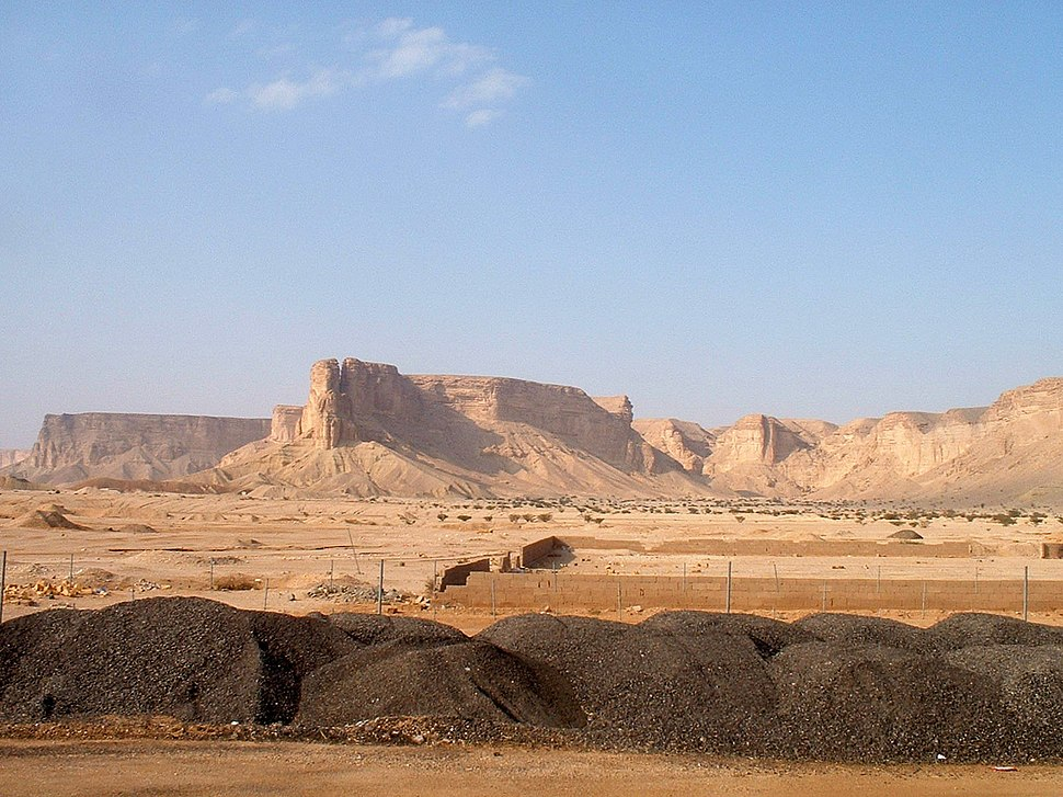 A view of the Tuwaiq Escarpment in the Najd from the west. The Saudi capital city, Riyadh, lies just beyond the horizon.