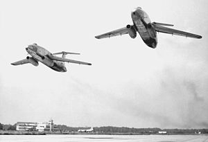 Martin XB-51 - Martin's two XB-51 prototypes, seen low over the runway on a high-speed pass