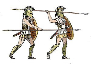Hoplite - Hoplites shown in two attack positions, with both an overhand and underhand thrust