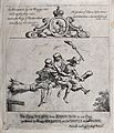 Two scotsmen and a witch flying on a broomstick. Etching by Wellcome V0025865.jpg
