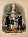 Two uniformed war veterans with a young soldier by a statue Wellcome V0015749EL.jpg