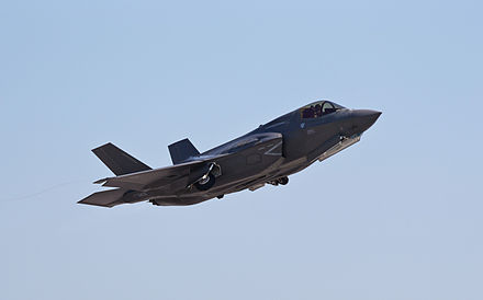 The F-35B will be operated from the Queen Elizabeth-class aircraft carriers. UK F-35B Lightning II MOD 45157752.jpg