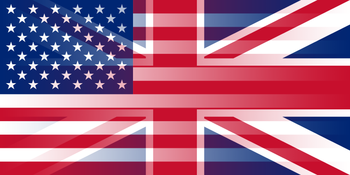 English: Blending of the flags of the United S...