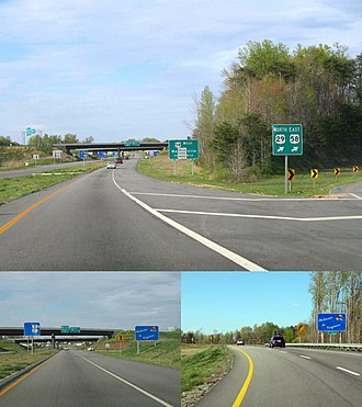 U.S. Route 29 in Virginia - US 29 entering Virginia from North Carolina; The Bus/Byp split, Bus. entering, and Byp. entering.