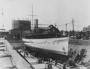 USS Artemis SP-593 in drydock