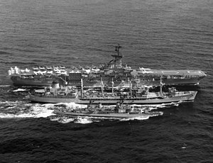 USS Kawishiwi (AO-146) refueling Bon Homme Richard (CVA-31) and Hollister (DD-788) 1963.jpeg