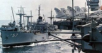 USS Regulus (AF-57) - Image: USS Regulus (AF 57) replenishing America (CV 66) in 1970