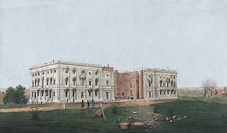 The United States Capitol after the burning of Washington, D.C. in the War of 1812. Watercolor and ink depiction from 1814, restored. US Capitol 1814c.jpg