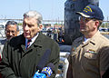 US Navy 030424-N-2903K-001 Cmdr. Frederick J. Capria commanding officer of the fast attack submarine USS Newport News (SSN 750) is welcomed home by U.S. Senator John W. Warner and U.S. Congressman Robert C. Scott.jpg