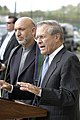 US Navy 040614-D-9880W-222 Secretary of Defense Donald H. Rumsfeld, right, joins visiting Afghanistan President Hamid Karzai for a press conference.jpg