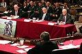 US Navy 050303-N-2568S-075 Secretary of the Army Francis Harvey, Secretary of the Navy Gordon England, and Acting Secretary of the Air Force Peter Teets answer questions from members of the Senate Armed Services Committee.jpg