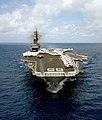 US Navy 050420-N-0000X-002 An aerial bow view of the conventionally-powered aircraft carrier USS America (CV 66).jpg